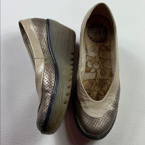 Fly London metallic wedge slip on shoes 38